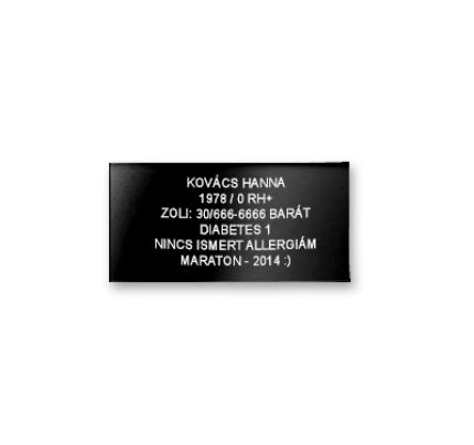 Elite iD - Black Edition gravírozott lap
